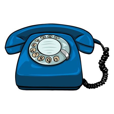 Téléphone Rotary Retro Cartoon unique Vector sur fond blanc Vecteurs