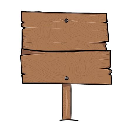 Vector Single Cartoon Wooden Signpost on White Background  イラスト・ベクター素材