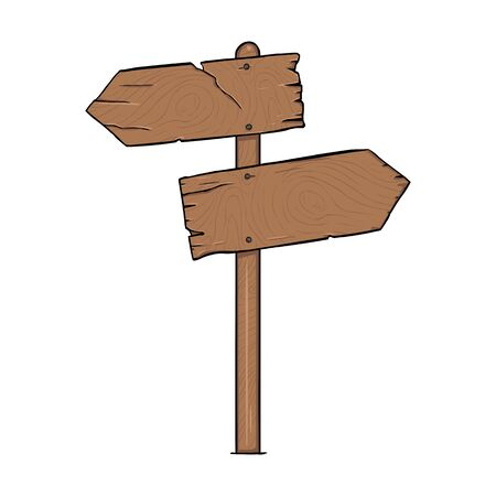 plywood: Vector Single Cartoon Wooden Signpost on White Background Illustration