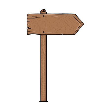Vector Single Cartoon Wooden Signpost on White Background Ilustração