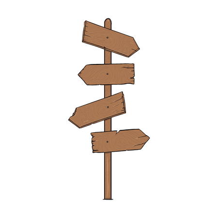 Vector Single Cartoon Wooden Signpost on White Background Illustration