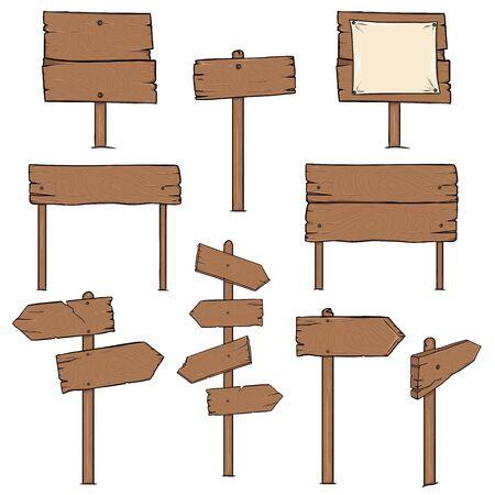 signposts: Vector Set of Cartoon Signposts on White Background Illustration