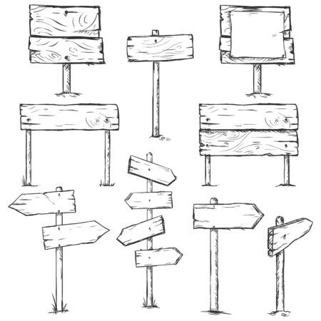 signposts: Vector Set of Sketch Signposts on White Background