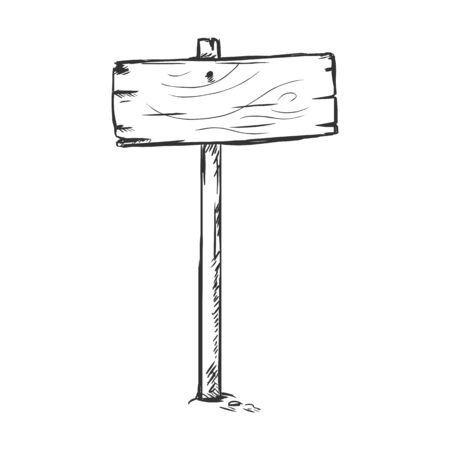 single sketch: Vector Single Sketch Signpost on White Background Illustration