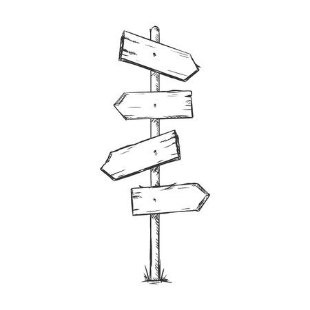 Vector Single Sketch Signpost on White Background Illustration