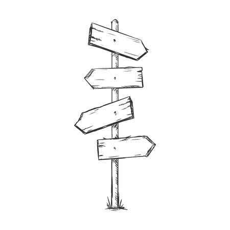 Vector Single Sketch Signpost on White Background Vectores