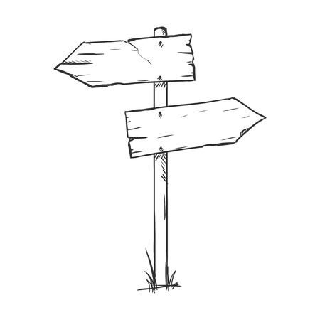 Vector Single Sketch Signpost on White Background Illustration