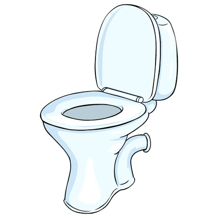 Vector Cartoon Toilet Pan on White Background  イラスト・ベクター素材