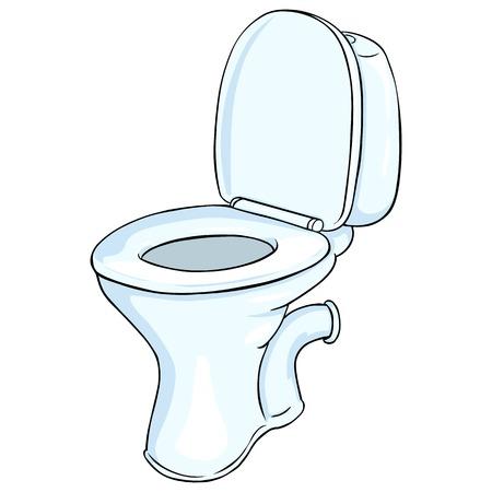 Vector Cartoon Toilet Pan on White Background Vettoriali