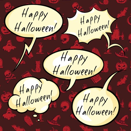 Vector Set of Happy Halloween Bubbles on Red Pattern Background