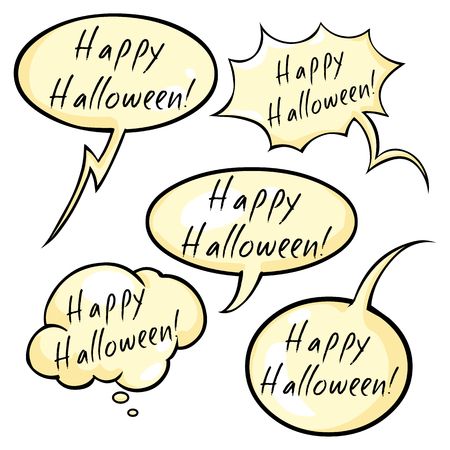 hallowmas: Vector Set of Happy Halloween Bubbles on White Background