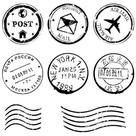 vector set of postal stamps on White Background Illustration
