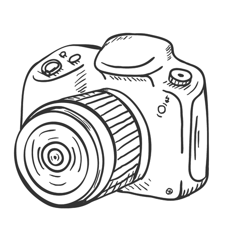 reflex camera: Vector Sketch Reflex Camera with Lens on White Background
