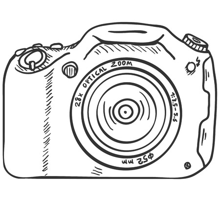 Vector Sketch Photo Camera on White Background Illustration