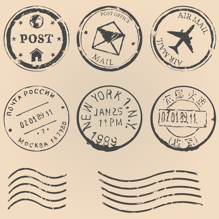 grungy email: vector set of postal stamps on brown background. Mail, post office, air mail, russian post, american post, new york, china post, wave stamp.