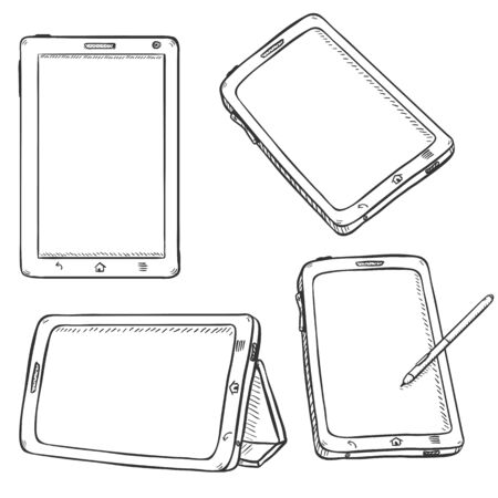 Vector Set of Tablet PC on White Background