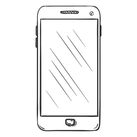 Vector Single Sketch Smartphone on White Background