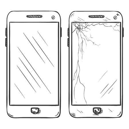 smartphone in hand: Vector Set of Two Smartphones on White Background Illustration
