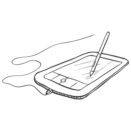 Vector Sketch Graphic Tablet with Stilus Pen on White Background