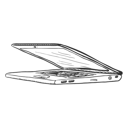 single sketch: Vector Single Sketch Laptop on White Background