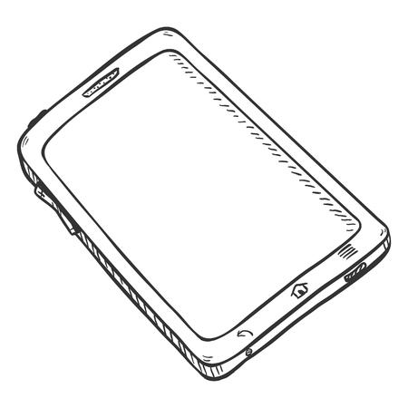 Vector Single Sketch Tablet PC on White Background Illustration