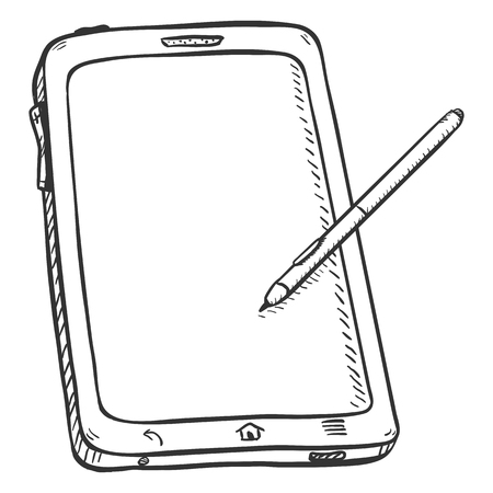 stilus: Vector Single Sketch Tablet PC on White Background Illustration