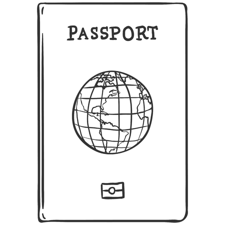 single sketch: Vector Single Sketch Passport on White Background