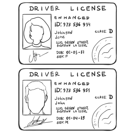 personal identification number: Vector Set of Sketch Drivers Licences. Male and Female Template on White Background Illustration