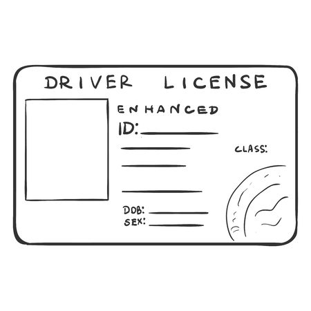 licence: Vector Single Sketch Drivers Licence on White Background Illustration
