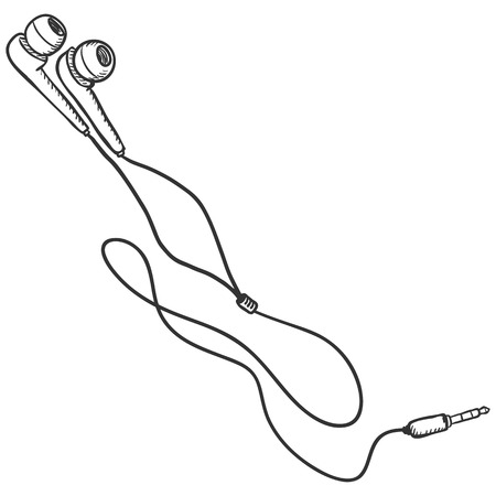 earbuds: Vector Sketch Earbuds and In-ear Headphones on White Background
