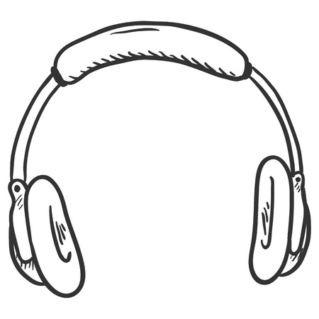 Vector Single Sketch Circumaural Headphones on White Background