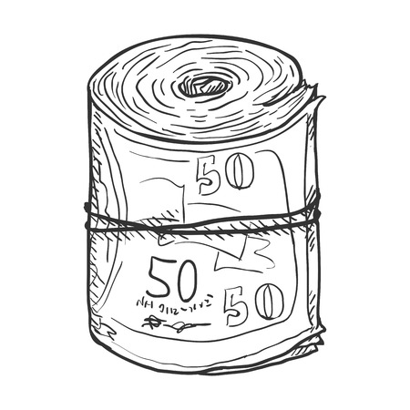 the hustle: Vector Single Sketch Scroll of Banknotes on White Background