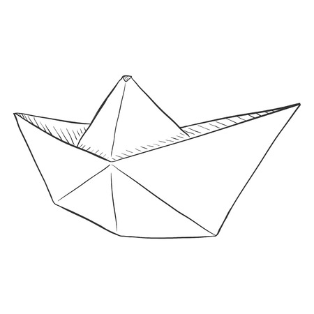 paper boat: Vector Single Sketch Paper Boat. Traditional Origami Ship