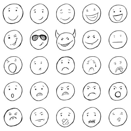 smileys: Vector Set of Sketch Emoticons. Variations of Smileys on White Background