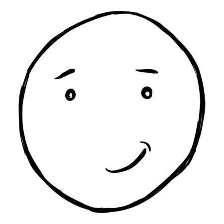 humble: Vector Single Sketch Emoticon on White Background