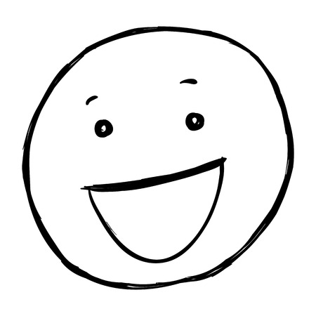 beaming: Vector Single Sketch Emoticon on White Background