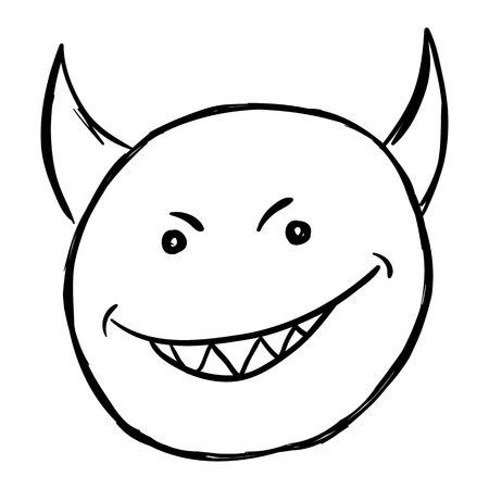 Vector Single Sketch Emoticon on White Background