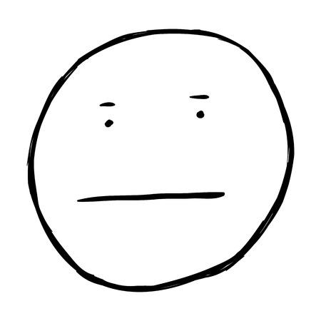 ignore: Vector Single Sketch Emoticon on White Background