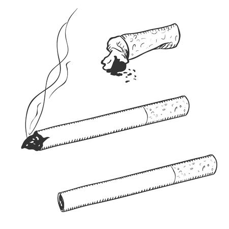 Vector Sketch Set de cigarettes avec filtre sur fond blanc Vecteurs