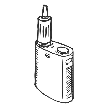 electronic cigarette: Vector Sketch Single Electronic Cigarette on White Background