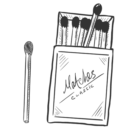 matchbox: Vector Sketch Open Matchbox with Matches on White Background