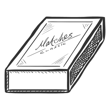 matchbox: Vector Sketch Closed Matchbox on White Background