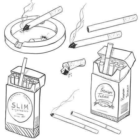 Vector Set of Sketch cigarettes et boîtes de cigarettes sur fond blanc