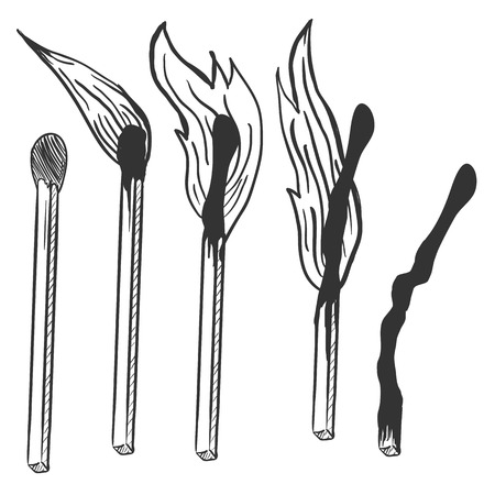combust: Vector Set of Burning Matches. Different Stages of Combustion