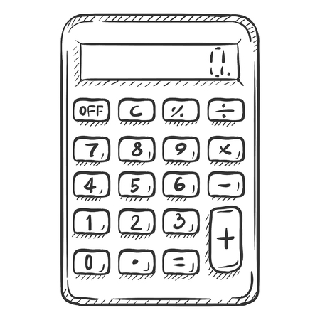 single sketch: Vector Single Sketch Calculator on White Background