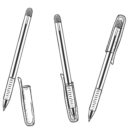 Vector Sketch Set of Pens. Ballpoint Pens with Caps Variations on White Background