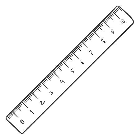 Vector Single Sketch Ruler on White Background