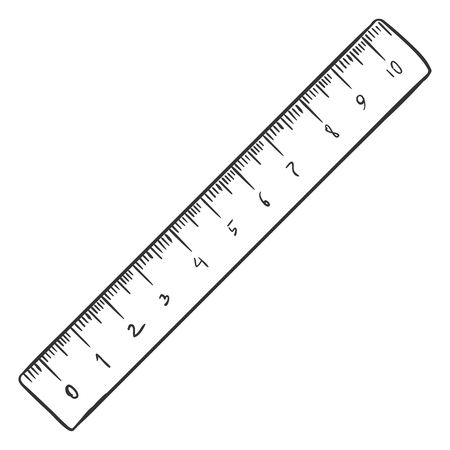 Vector Single Sketch Ruler on White Background