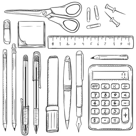 stationery items: Big Vector Set of Sketch Stationery Items on White Background