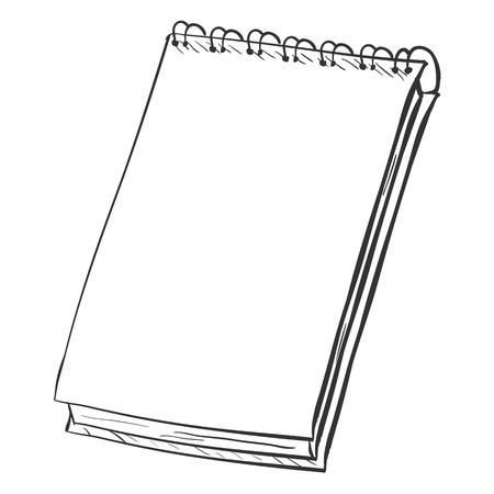 spiral notebook: Vector Single Sketch Spiral Notebook on White Background Illustration